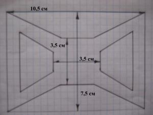 схема банта на бумаге в клетку