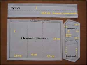 выкройка элементов для бумажной сумки-упаковки