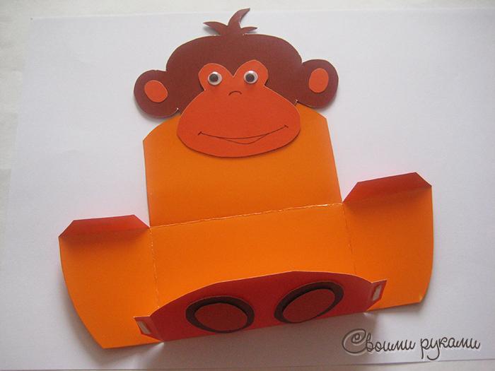 Аппликация обезьянки из картона