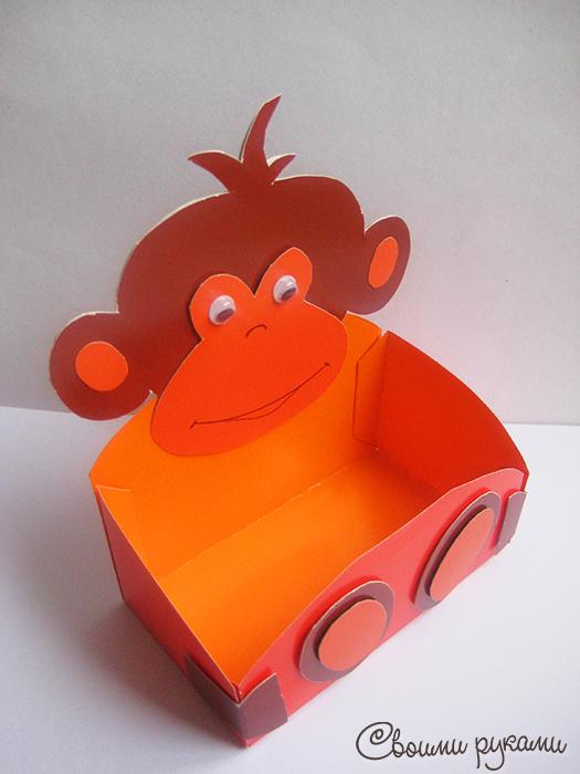 Поделка обезьянка из картона