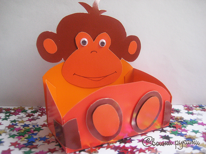 Поделка обезьяна из картона