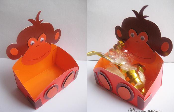 Подарочная упаковка в виде обезьянки